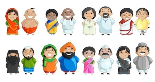 vector illustration indian couple different 260nw 141358954 1